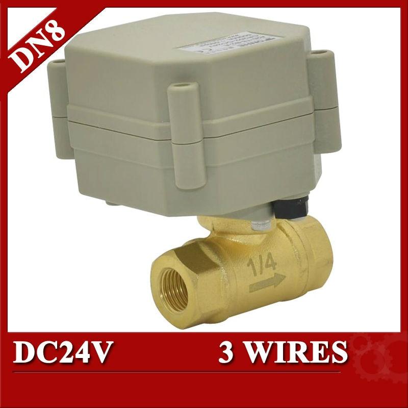 1/4  DC24V electric actuator valve 2 port, motorized valve 3 wires, DN8 Brass Electric ball valve<br><br>Aliexpress