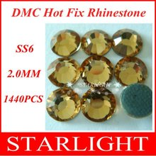 Wholesale,FREE SHIPPING,DMC hot fix rhinestone, Lt. col. Topaz Color ss6,China post air mail free,1440pcs/lot star15(China)