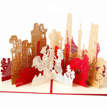 3D Laser Cut Handmade Carving Guangzhou City Paper Invitation Greeting Cards PostCard Business Creative Gift Souvenir Collection(China)