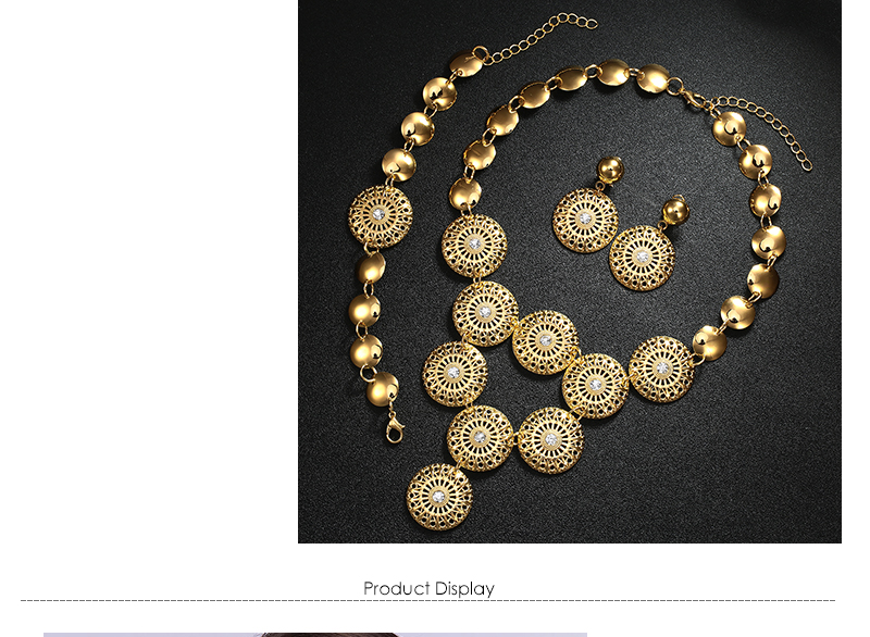 BTSETS African Jewelry Set Nigerian Wedding Jewelry Sets For Brides Silver Gold Color Round Ladies Fashion Jewelery Sets (2)