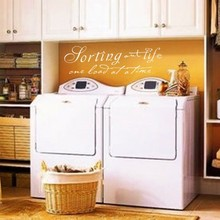 "Laundry Room - Sorting Out Life one load at a time - Vinyl Wall Words Stickers Art Wall Decal 46"" x 13"" M"