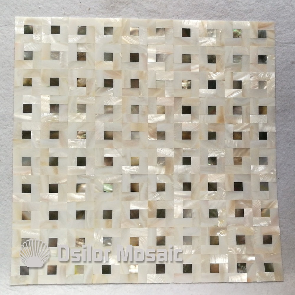 Kitchen backsplash wall tile Chinese freshwater shell and black mother of pearl mosaic tile for home decoration<br>