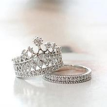 2 Pcs Queen Party Sweet Rhinestone Crown Molding Ring Value Of Two Sets Rhinestone Crown Rings Fashion Jewelry