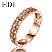 EDI Classic 0.06cttw Round Cut Natural Diamond Fashion Wedding Engagement Ring Bands 18K Rose Gold Fine Jewelry For Women(China)