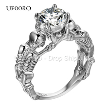 UFOORO Ghost evil Skull skeleton Hand CZ Ring European and American Punk style Motor Biker Men Ring 2017 new skull men's jewelry