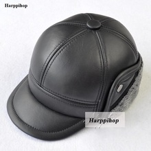 New Design fashion warmest Men's 100% Genuine cow  Leather Cap /Newsboy /Beret /Cabbie Hat/ Golf Hats ear protection caps