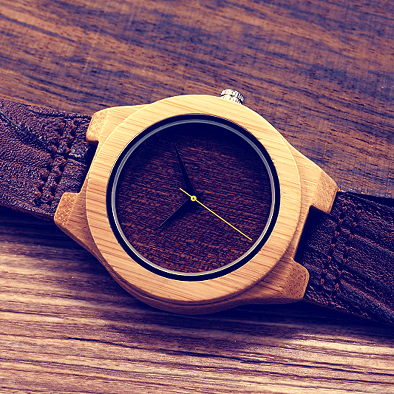 BOBO BIRD E13 Wood Leather Watch with Wood Grain Mens #