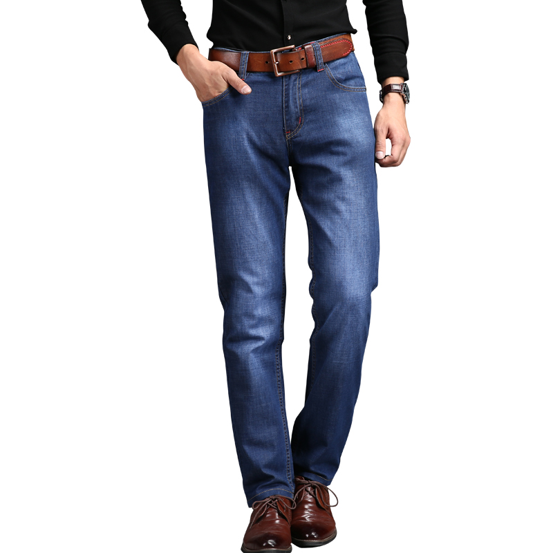 2017 Brand Mens Jeans 40 42  Blue Denim Straight Business Jean Trousers Jeans Homme Pants Office Worker JeansОдежда и ак�е��уары<br><br><br>Aliexpress