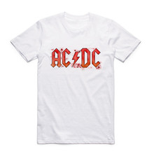2017 Men Women AC DC Band Rock White T Shirt Short Sleeve O-Neck acdc Graphic Men T-shirt  Heavy Metal Kpop Harajuku Clothing