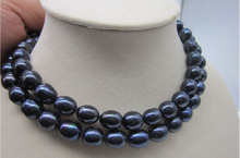 Free shipping shitou 001623 charming 13-11mm natural south sea black grey pearl necklace 34 inch
