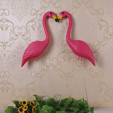 "2 plastic bight pink premium flamingos garden ,yard and lawn art ornament wedding ceremony decoration with 34"" height(China)"