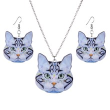 Fashion Brand Acrylic Statement Cat Necklace Earrings Jewelry Sets Jewelry News For Women Girl Gift(China)