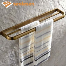 Wholesale And Retail Modern Antique Brass Bathroom Towel Rack Holder Dual Towel Bars Wall Mounted Towel Rack Holder(China)
