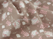 hk081A - 1 Yard Cotton Woven Fabric - Sanrio Cartoon Characters, Hello Kitty and Camera - Brown (W105)