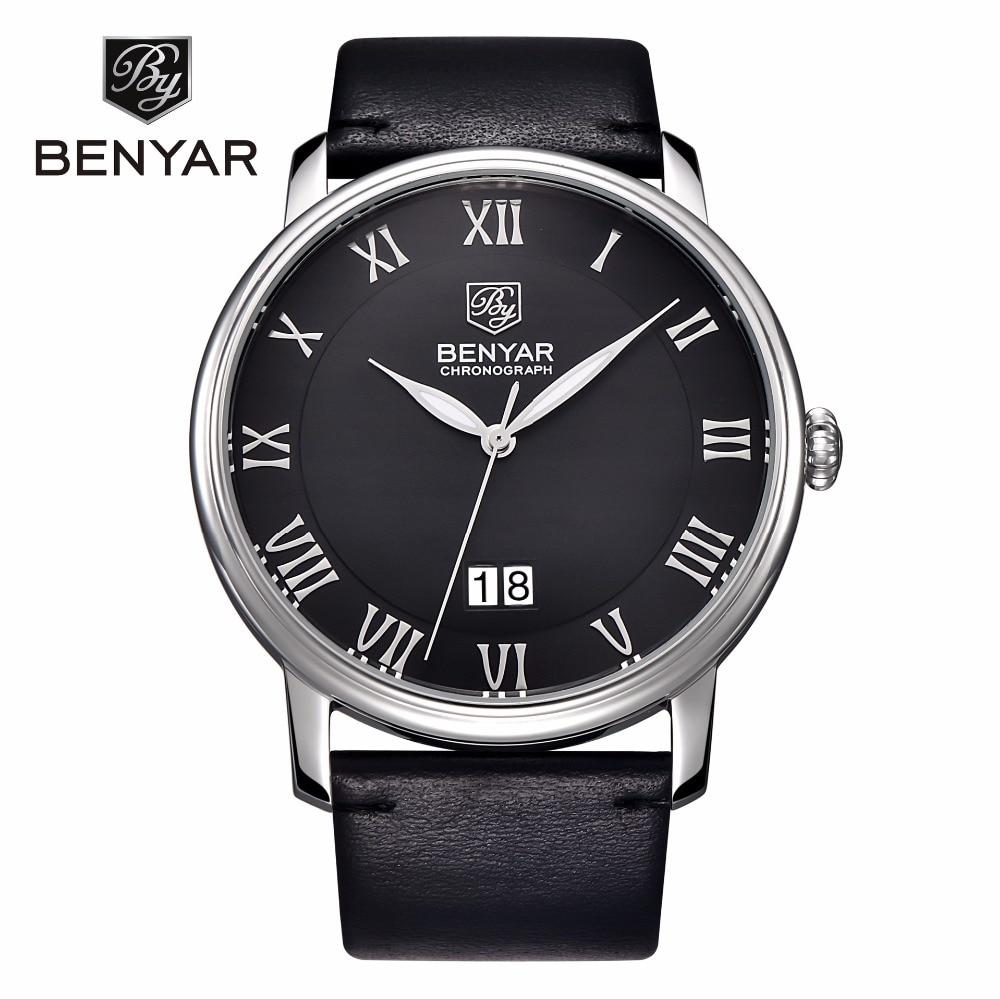 BENYAR Roman Numerals Quartz Watch Men Sport Casual Mens Watches Top Brand Calendar Leather Strap Wristwatch relogio masculino <br>