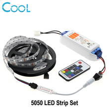 LED Strip Light 5050 5M 300LEDs Flexible Neon Tape RGB / Single Color Set + DC12V 6.3A Led Driver + RF Remote Controller(China)