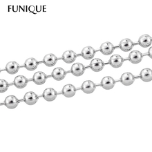 FUNIQUE 10M Silver Tone Stainless Steel Ball Chains Findings 2.4mm Dia For Necklace Bracelet(China)
