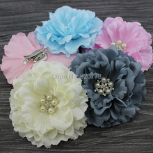 Hair bows silk fabric peony flower hair clip Brooch for baby girl or women Accessories for hair 24pcs/lot