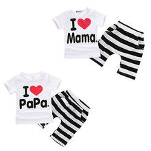 2016 Baby Boy Girls Newborn Clothes Casual Pajamas Set T-shirt Pants 2PC Outfits(China)