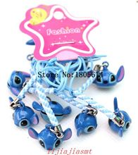 Hot sale 50pcs girl favourite Stitch Jingle Bells Cartoon Copper Bells Pendants / Christmas Charms Phone Pendant Ornament