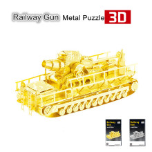 Nanyuan Railway Gun 3D Metal Puzzle Jigsaws Silver/Gold 3D DIY Laser Cutting Car Model DIY Metal Fun Learning & Educational Toys