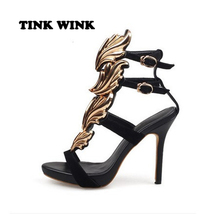 2017 Gold leaf wings hotsale women shoes black gold flame Hollow open toe high-heeled gold leather sandals metal buckle