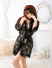 Sexy lingerie black flower lace gown pajamas equipment exotic apparel women dress + g string set sleepwear robe  XL XXL XXXL