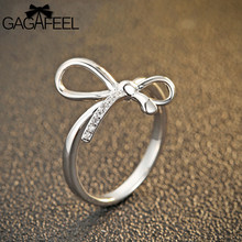 GAGAFEEL Lovely Bow Tie Rings Authentic 100% 925 Sterling Silver Jewelry Open Ring Women Girl Finger Accessorise With Zircon