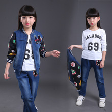 Fashion designer kids wear teenage girls clothing sets ins hot 2016 children two pcs girls autumn clothes set