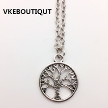 Hot!  Wholesale Fashion Tree of Life Pendants Necklaces Silver Plated Necklace Women Men Jewelry Charm Gift For Family Girl