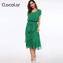 Buy Clocolor Maxi Dress Women Green Red Black Ankle length Falbala Puff Sleeve Asymmetrical Summer Chiffon Dress Summer Maxi Dress for $13.28 in AliExpress store