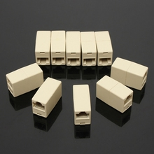 Universal RJ45 Connector 10Pcs RJ45 Cat5e Straight Network Cable Ethernet LAN Coupler Joiner Female To Female Connector