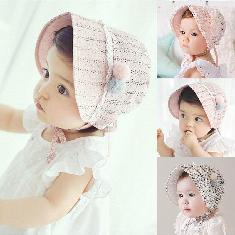 Summer TIE UP Baby NEW CAP Cotton girls sun hat bonnet with Spring