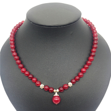 Classic Natural Stone Jewelry Romantic Noble 8mm Round Red Rubies Beaded and 12mm Pendant Strand Choker Necklace 45cm