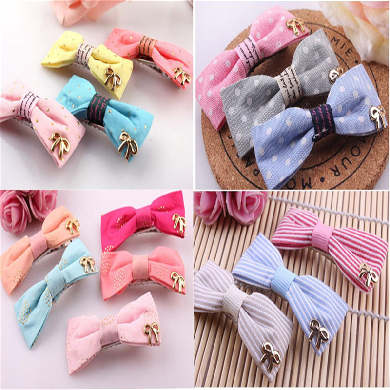 2016 Fashion 6Pcs Candy Color Stripe Dot Bow Hairpin Hair Clips for Baby Girls Kids Hair Accessories Safe Clothing Barrettes<br><br>Aliexpress