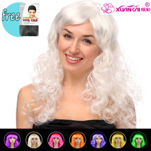 Free shipping Synthetic Women's Long Wavy Wigs Fancy Dress Curly Fake Hair For Cosplay Party(China)