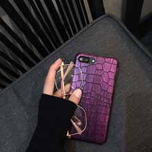 Green & Black & Purple Sequins Crocodile Skin Case for iPhone 6 6s 7 7plus Luxury Funda From Ludi PU Hard Back Phone Cover Case