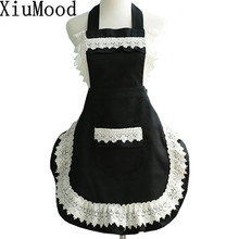 XiuMood Fashion Cotton Lace Aprons For Women Kitchen Chef Cooking Apro Free Shipping(China)
