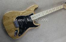 Factory store nature ELM ASH body stratocaster black pickguard HSS pickguardmaple fretboard 6 string Electric Guitar(China)