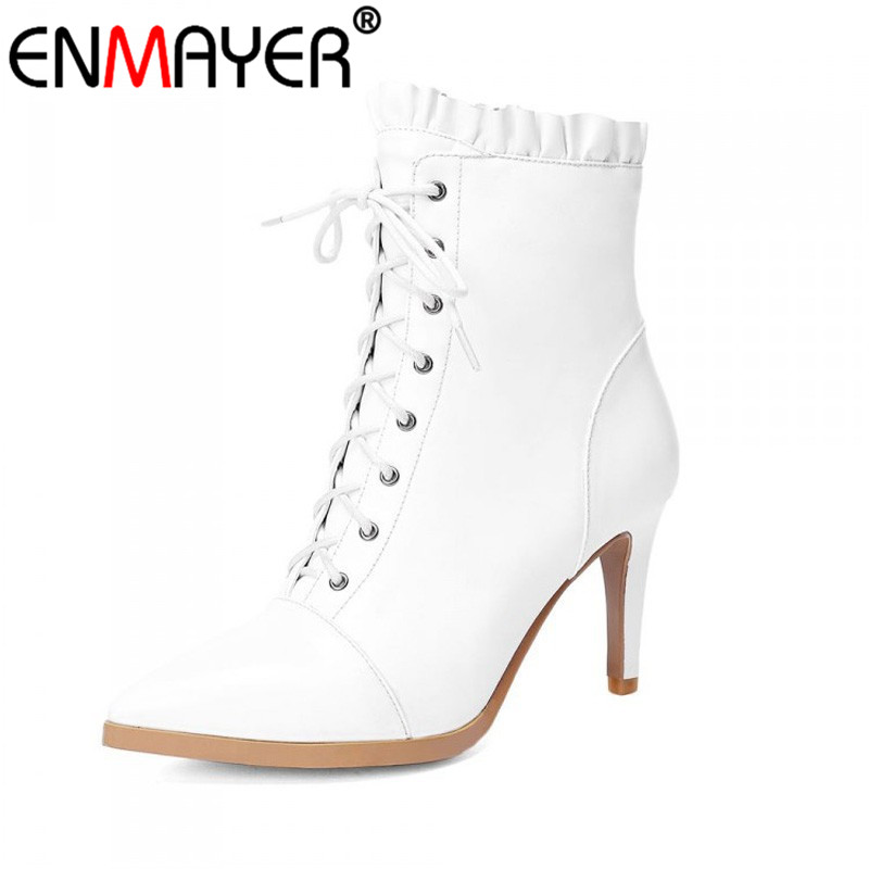 ENMAYER Geniune Leather Pointed Toe Thin High Heels Black White Shoes Women New Fashion Winter Women Ankle Boots Large Size 39<br><br>Aliexpress