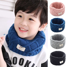 Cute Cotton Winter Baby Scarf Children Girls Boys Knitted Wool O-Scarves Kids Solid Color Warm Scarf