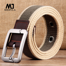 HOT 2017 wholesale Real Solid brand Belt for Men Cinto men's Fashion Pin Buckle Canvas cowboy knitted Strap Casual  Striped belt