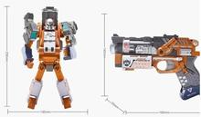 Lone Wolf xuan gun Deformation Toys metal deformation soft bullet gun metal can be fired a gun toys king kong model of the robot