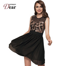 Comeondear RA7864 Women Chiffon Summer Pretty Vestidos Zipper Back Black Sequin Dress Sleeveless A-Line Mesh Sexy Skater Dress(China)