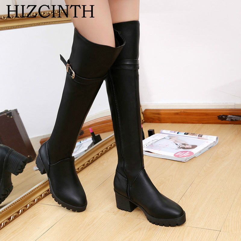 HIZCINTH 2017 Winter Womens Boots Belt Buckle High Heels Knight Over-the-knee Boots Leather Boots Shoes Woman Botas Femininas<br>