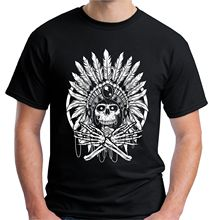 2017 Moda de Nueva Mens Native Indian Skull Camiseta Headress Espíritu Rojo Americano Personalizado Imprimir Casual O-Neck Tee