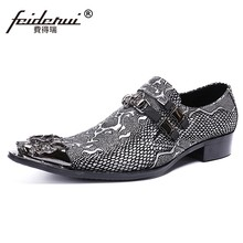 Plus Size Luxury Pointed Toe Slip on Man Metal Tipped Loafers Genuine Leather  Python-patterned Handmade Men s Casual Shoes SL480 4df843cd090d