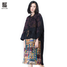 Outline Brand Women Linen Winter Dress With Original Design National Trend Print Dresses In Loose Vintage Dress L164Y007