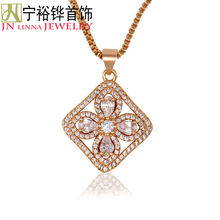JN Inlaid Necklace Fashionable Small Flower Ladies Pendant High quality copper Jewelery High Imitation Diamond Necklace