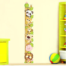 Kids Child Height Chart Measure Wall Stickers Animals Climb Tree Vinyl Wallpaper House Decorative Decals Removable(China)